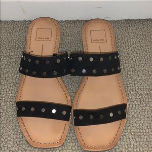 Dolce Vita black studded slide